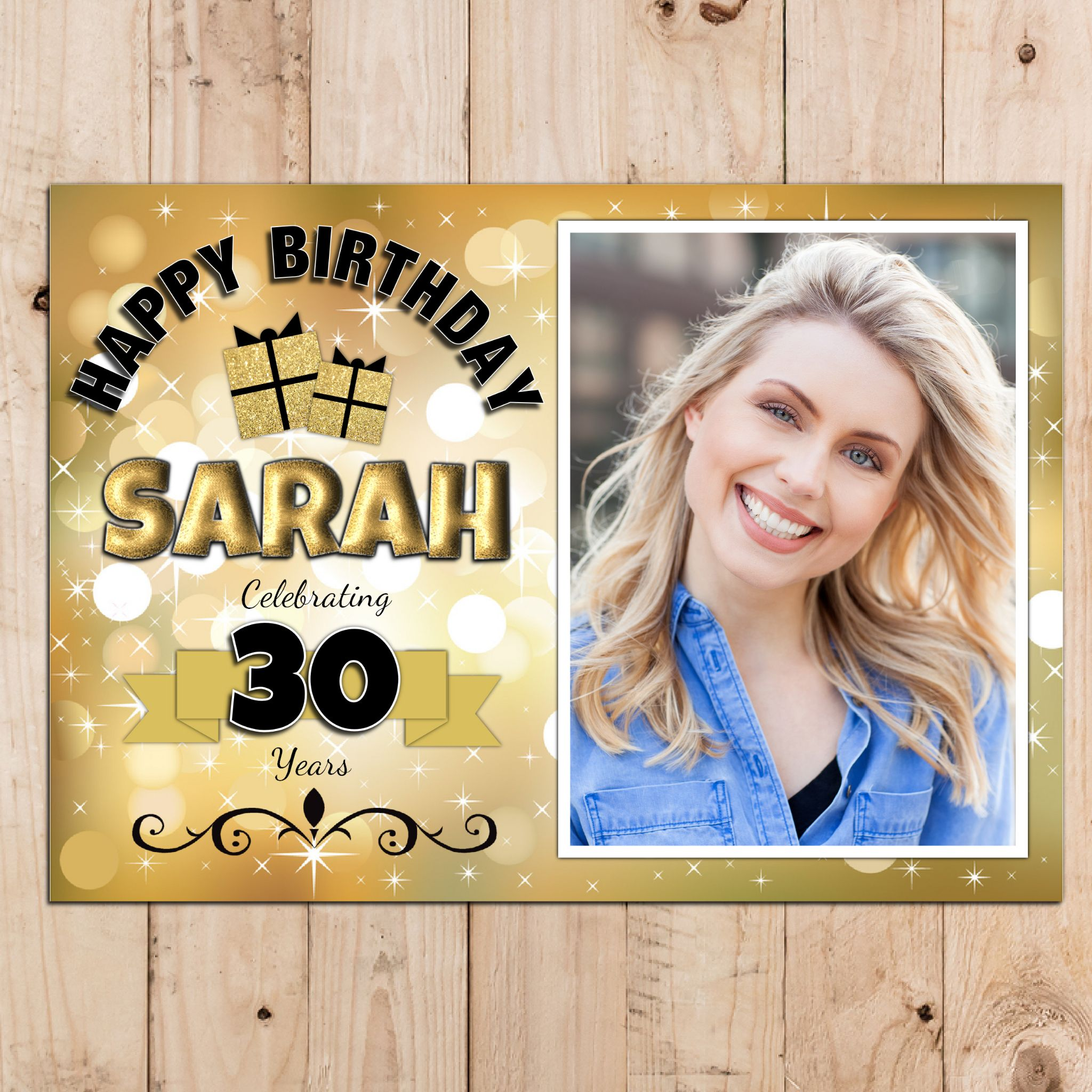 happy 50th birthday photo frame ; personalised-gold-sparkle-happy-18th-21st-30th-40th-50th-birthday-photo-poster-banner-n66-size-a3-29