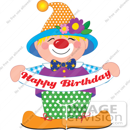 happy birthday banner clipart free ; 33658-clip-art-graphic-of-a-cute-and-colorful-party-clown-holding-a-happy-birthday-banner-by-maria-bell