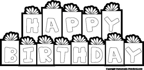 happy birthday banner coloring pages ; happy-birthday-presents-bw