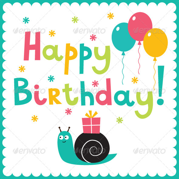 happy birthday card design template ; PR%2520birthday%2520snail