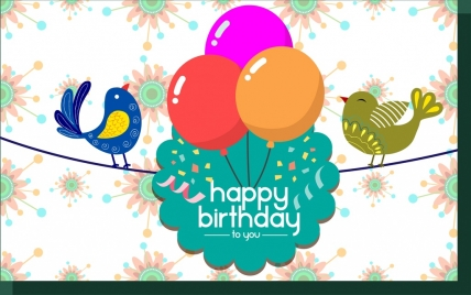 happy birthday card design template ; birthday_card_template_colorful_birds_and_balloons_decoration_28763