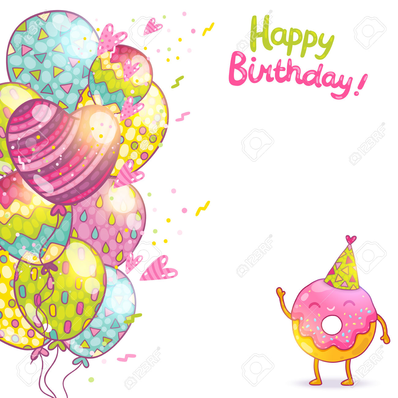 happy birthday card design template ; happy-birthday-card-background-with-cute-donut-vector-holiday-party-template-blank-design-with-cute-decor-birthday-card-template