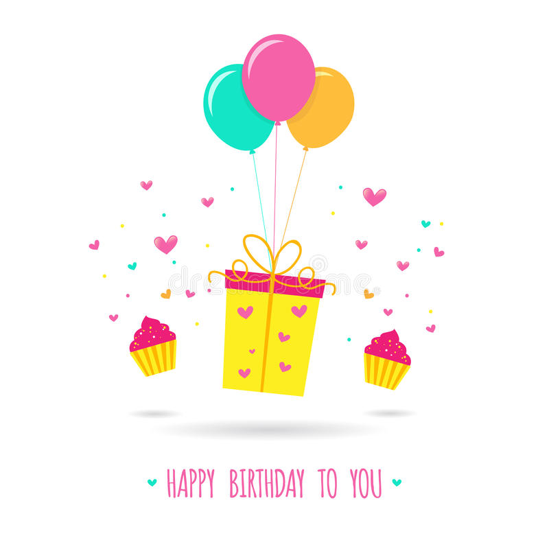 happy birthday card design template ; happy-birthday-card-design-template-gift-balloons-vector-illustration-62865056