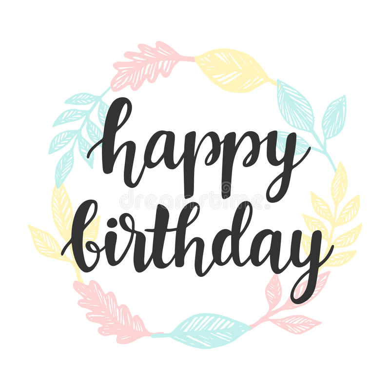 happy birthday card design template ; happy-birthday-greeting-card-design-template-cute-wreath-isolated-white-modern-brush-calligraphy-typography-vector-83589994