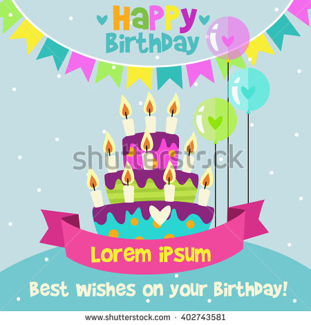 happy birthday card design template ; stock-vector-happy-birthday-card-design-template-with-image-of-birthday-cakes-candle-and-speech-bubbles-402743581