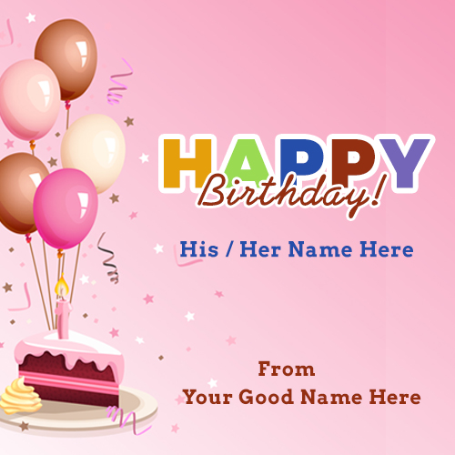 happy birthday card wishes with name ; birthdya-cake-piece-with-balloon-and-candle-demo
