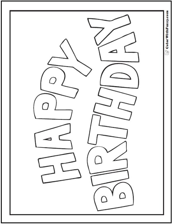 happy birthday coloring banner ; coloring-birthday-cards