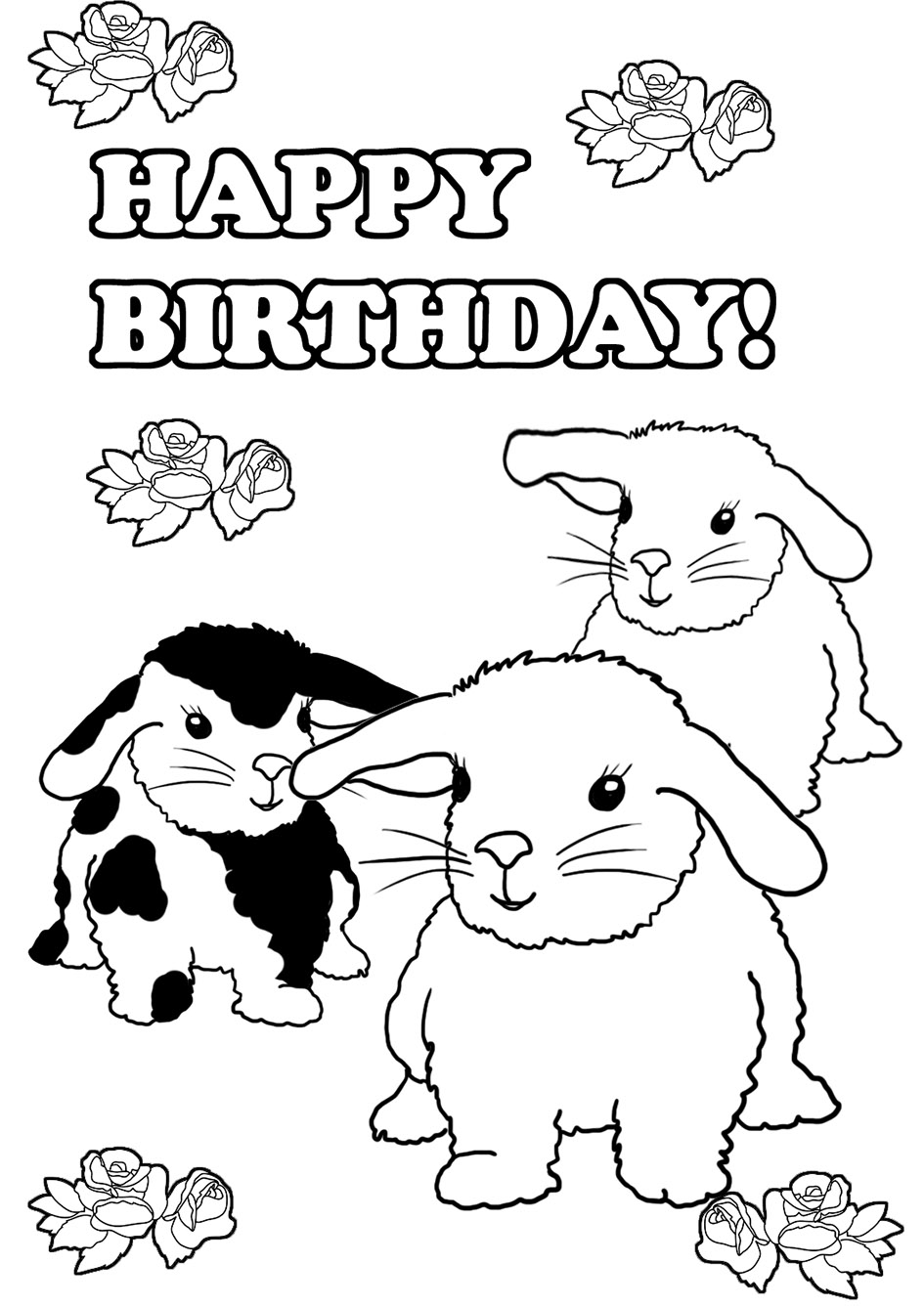 happy birthday coloring sheets to print ; three-bunny-coloring-birthday-page