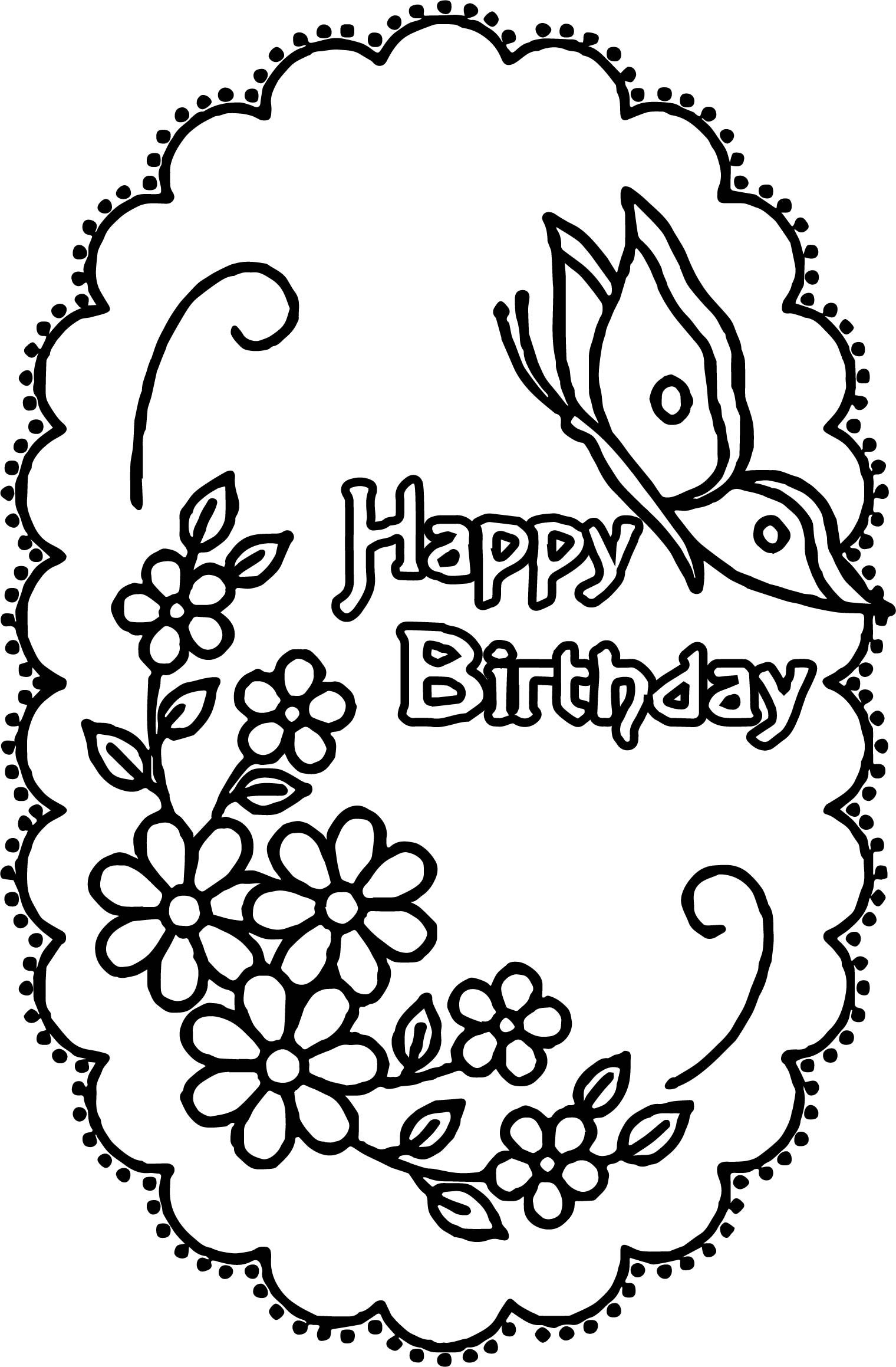 happy birthday coloring sign ; Happy-Birthday-Flower-Butterfly-Coloring-Page