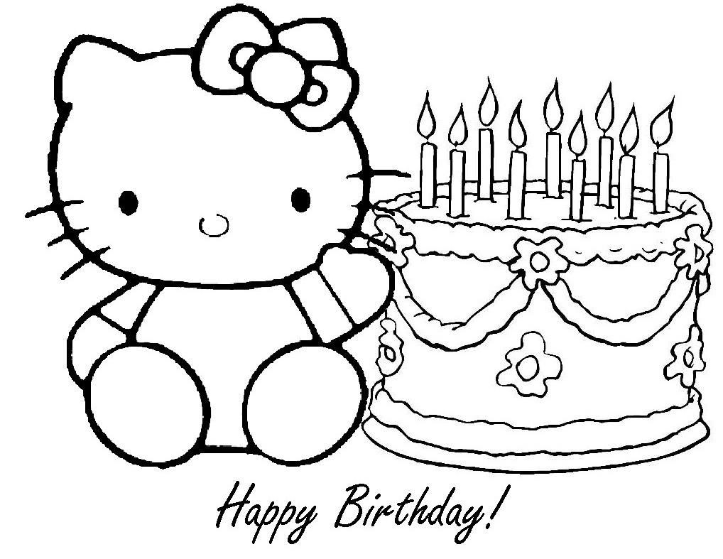 happy birthday coloring sign ; drawn-birthday-colouring-page-printable-13