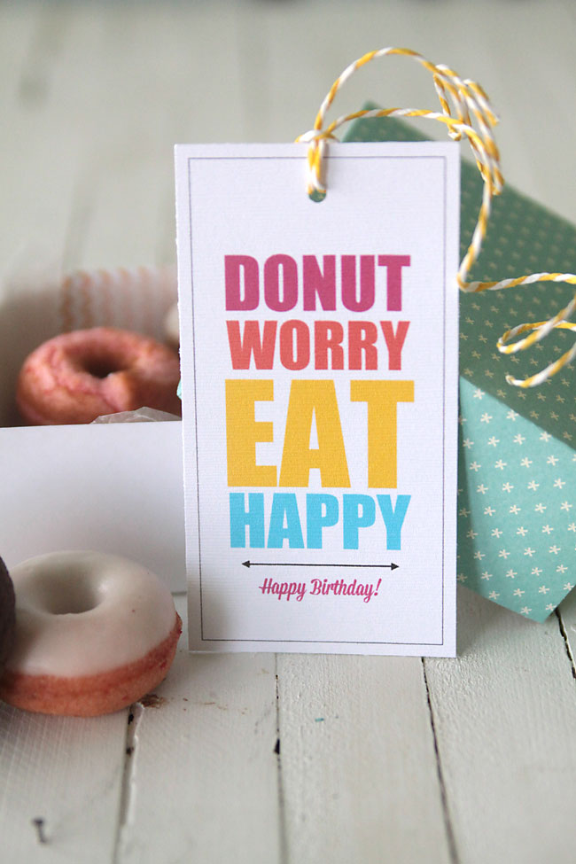 happy birthday gift tag printable ; donut-worry-be-happy-donut-gift-tag-birthday-printable-free