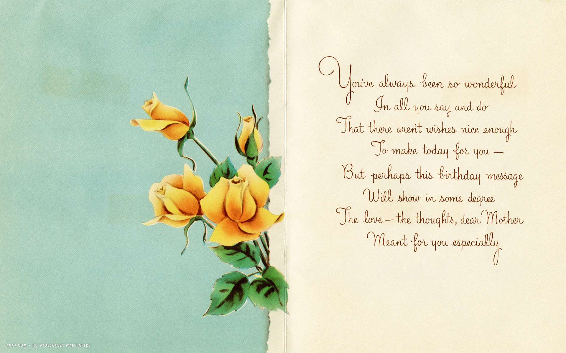 happy birthday greeting card message ; happy-birthday-dear-mother-message-card-yellow-roses-love