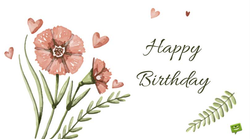 happy birthday greetings message ; Retro-floral-card-with-cute-birthday-message-1