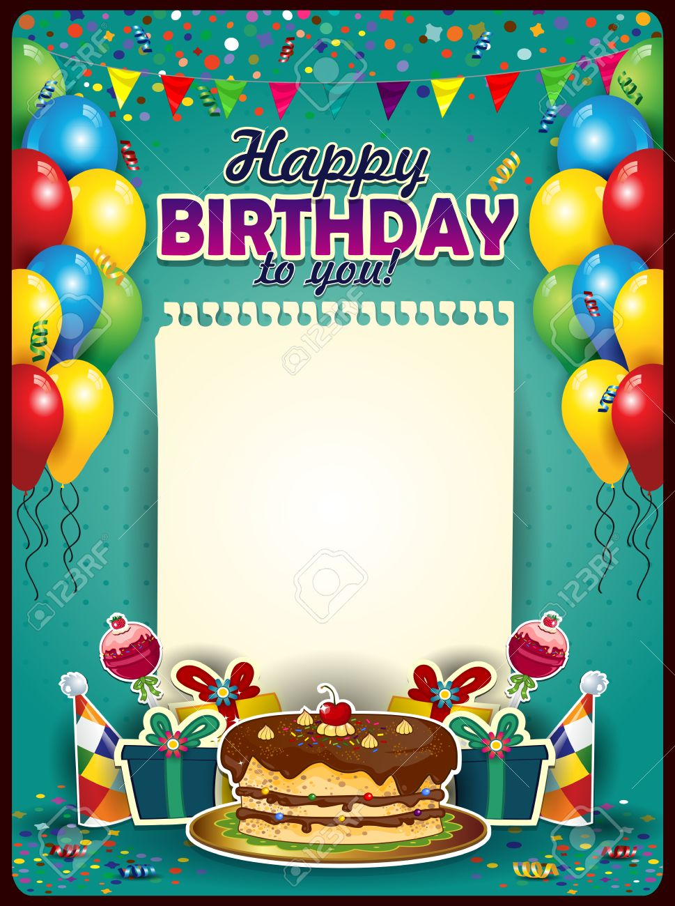 happy birthday insert photo free ; 29138651-happy-birthday-with-a-sheet-of-paper-vertically-with-balloons-and-cake-space-to-insert-your-text-tra-Stock-Photo