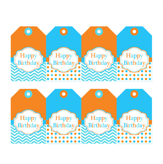 happy birthday labels free printable ; OrangeBlueHangingTags