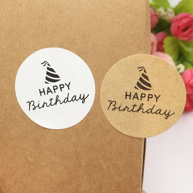 happy birthday labels stickers ; Kraft-Paper-Sticker-Labels-3-5cm-Round-Happy-birthday-Gift-Packaging-Labels-stickers-self-adhesive-Sealing