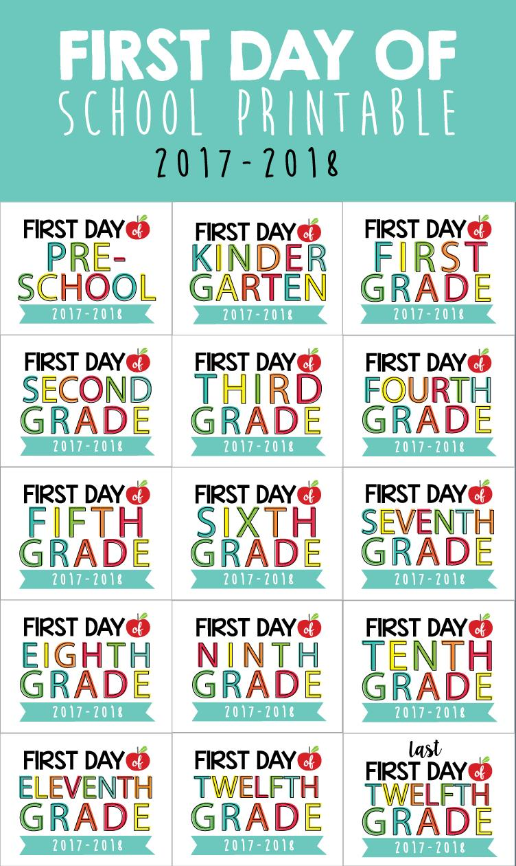 happy birthday printable gift tags ; First-Day-of-School-Display