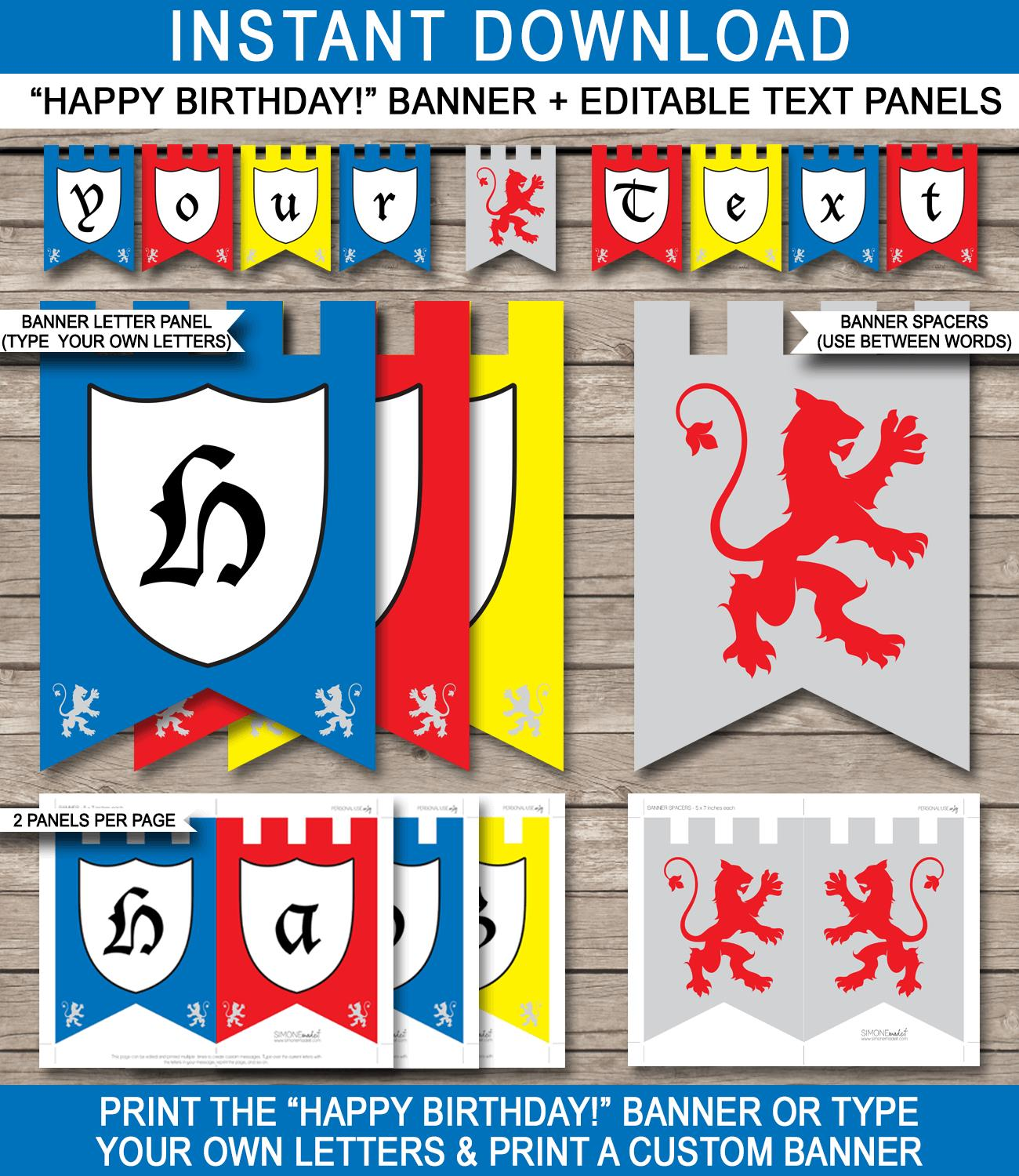 happy birthday sign template ; Knight-Banner-Happy-Birthday-editable-and-printable-template