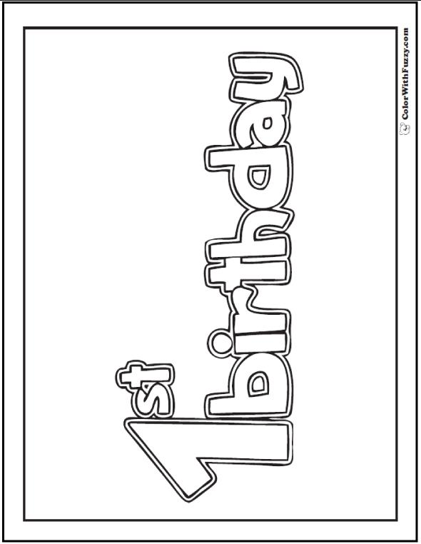 happy birthday sign to color ; 1st-birthday-coloring-page