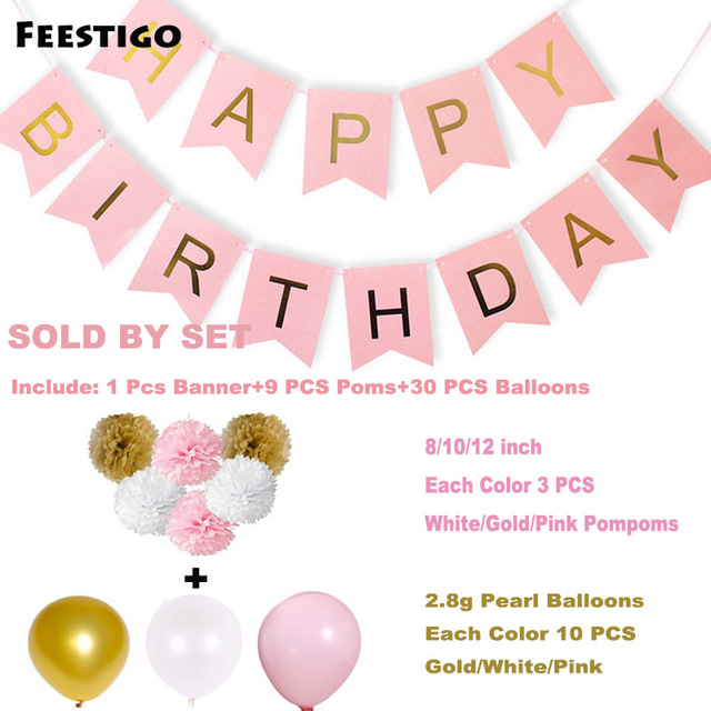 happy birthday sign to color ; Feestigo-DIY-Craft-Paper-Happy-Birthday-Banner-Set-Pink-Pompoms-12inch-Gold-White-Pearl-Balloons-For
