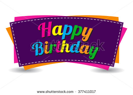 happy birthday sticker design ; stock-vector-happy-birthday-text-on-white-background-isolated-colorful-decorative-banner-design-anniversary-377411017