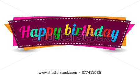 happy birthday sticker design ; stock-vector-happy-birthday-text-on-white-background-isolated-colorful-decorative-banner-design-anniversary-377411035