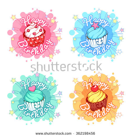 happy birthday sticker design ; stock-vector-set-of-four-banners-happy-birthday-with-very-happy-cupcakes-four-stickers-in-the-form-of-blots-362198456