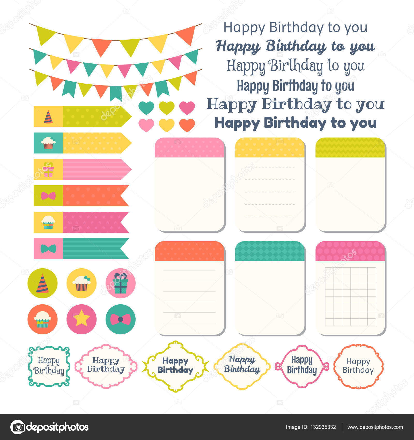 happy birthday sticker template ; depositphotos_132935332-stock-illustration-set-of-birthday-party-design