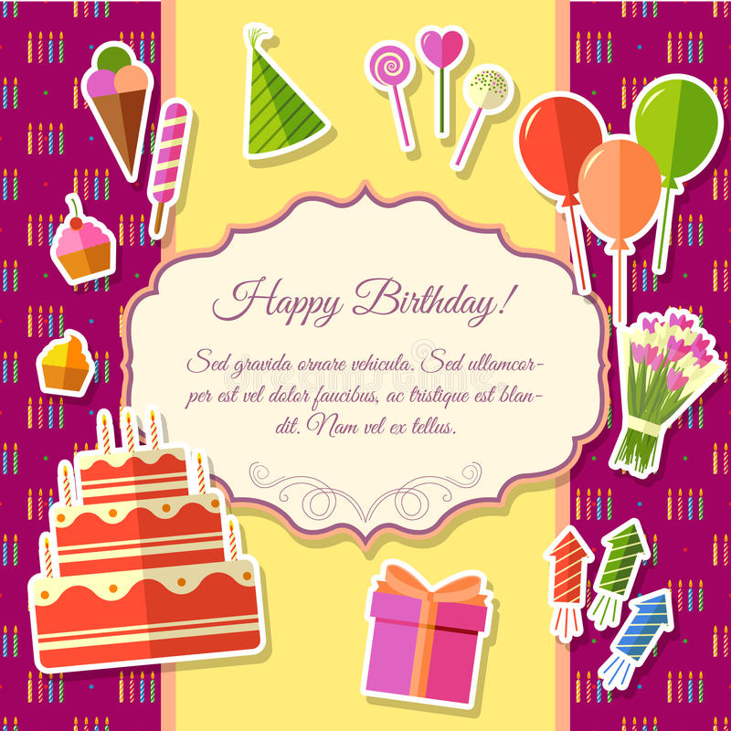 happy birthday sticker template ; happy-birthday-festive-elements-pink-background-poster-sticker-style-design-vector-illustration-template-card-66162635