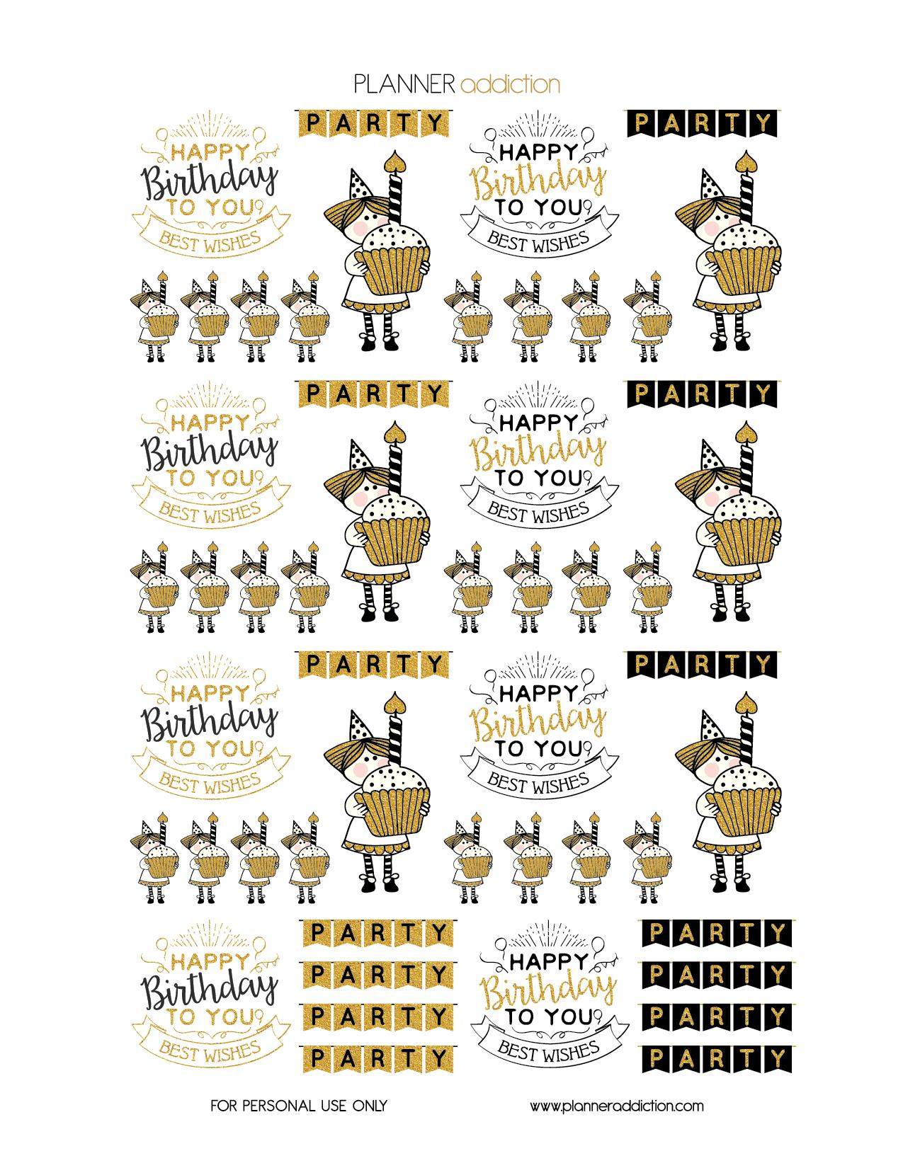 happy birthday stickers printable ; Happy_birthday_Black_and_gold_glitter_PNG