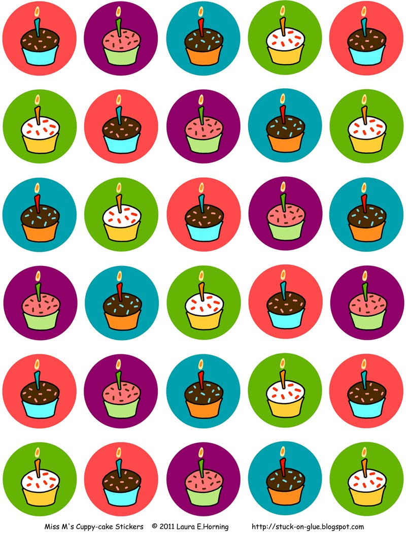 happy birthday stickers printable ; cupcake_sticker_full