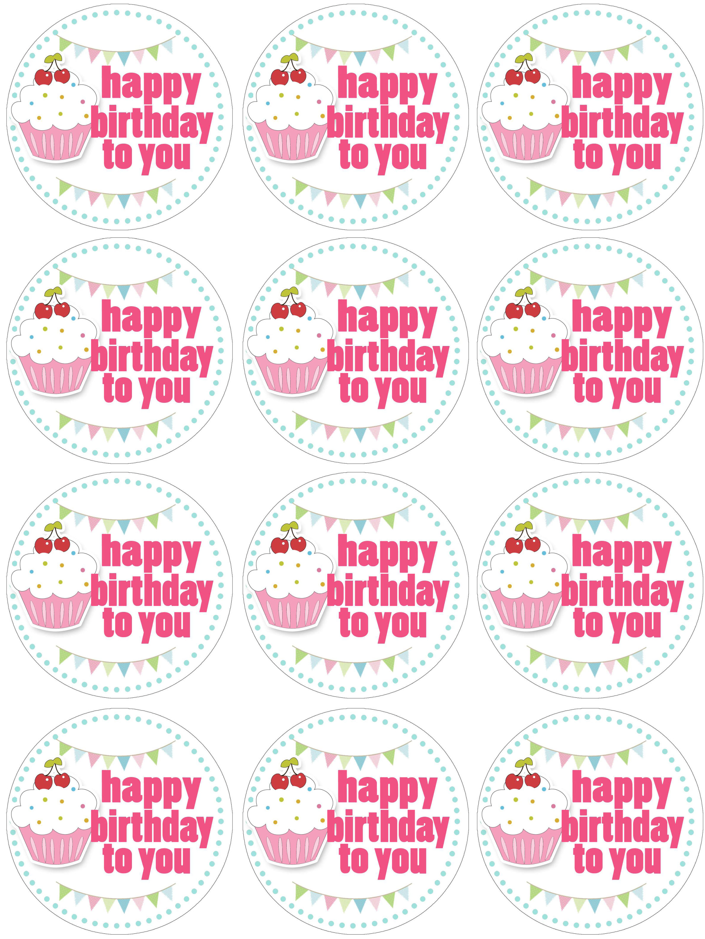 happy birthday tag printable ; cupcake-toppers-birthday