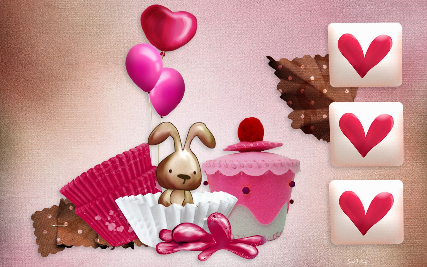 happy birthday wishes card ; Pink-background-Birthday-Bunny-Cupcake-card-for-girls-1440x900-