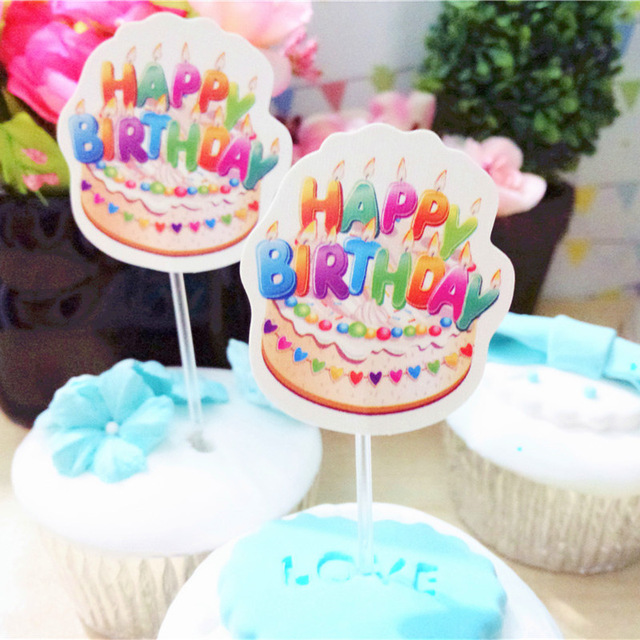 happy birthday with photo insert ; Low-prices-Happy-birthday-cupcake-toppers-insert-cards-wedding-birthday-baby-bridal-shower-party-cake-decorations