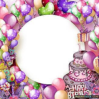 happy birthday with photo insert ; birthday-photo-frames-with-cake-luxury-colorful-birthday-balloons-and-cake-frame-insert-s-of-birthday-photo-frames-with-cake