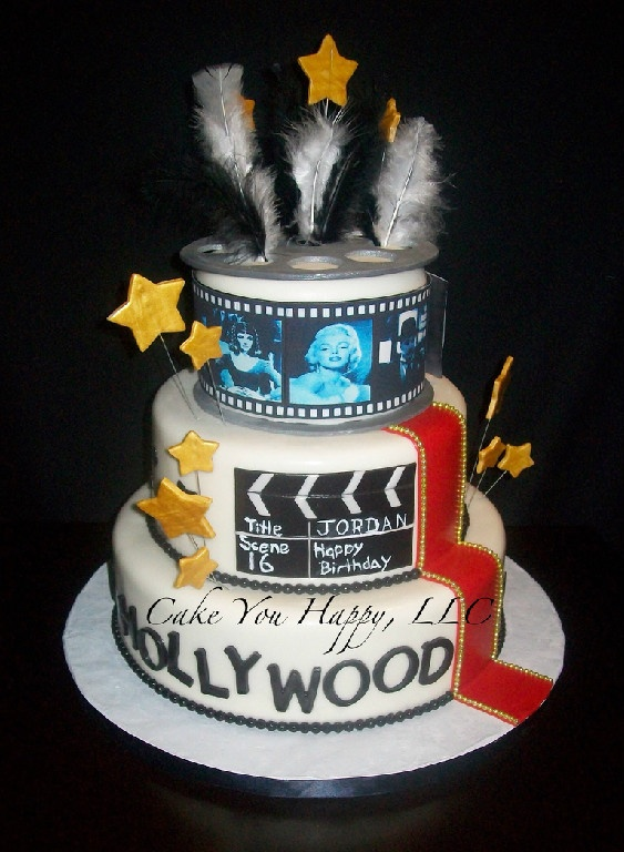 hollywood themed birthday cake design ; 2cc40eece4b0ffb90867f1abb2033e34--old-hollywood-cake-hollywood-theme