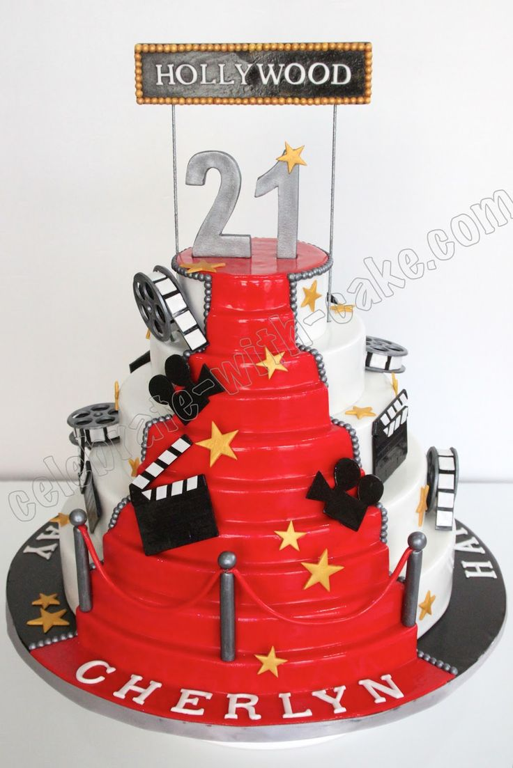 hollywood themed birthday cake design ; ed2deae2a4b85a815b421880511754c8--hollywood-cake-hollywood-red-carpet