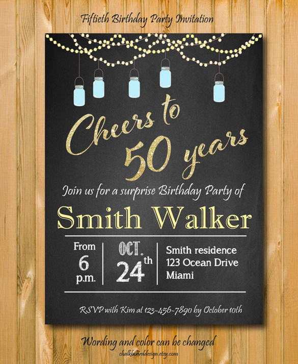 indesign birthday invitation template ; Surprise-50th-Birthday-Party-Invitation-Chalkboard-Download