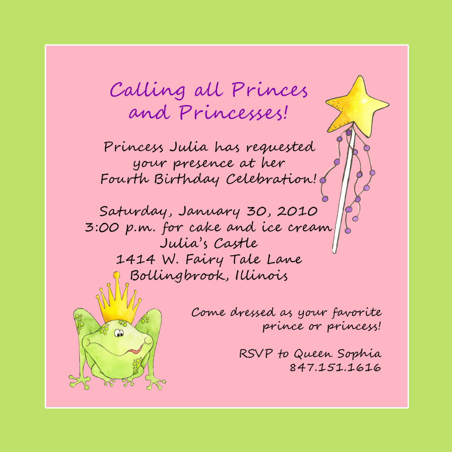 kids birthday invitation quotes ; cute-pink-and-green-color-princess-theme-sample-birthday-party-invitations-wording-green-image