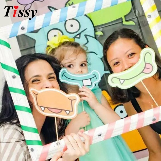 kids birthday party photo booth ; 1Set-Birthday-Photo-Frame-Hippo-Mouth-Photo-Props-DIY-Photobooth-Anniversary-Decoration-Kids-Birthday-Decorations-for