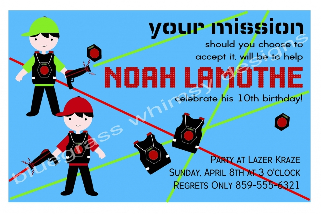 laser tag birthday invitation ideas ; boys-laser-tag-birthday-party-invitation-blue-red-and