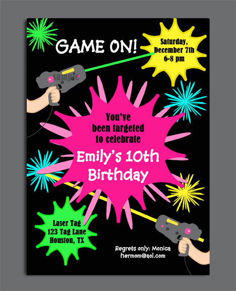laser tag birthday invitation ideas ; laser-tag-girl-birthday-invitation-printable-or-printed-with-laser-tag-invitation-wording