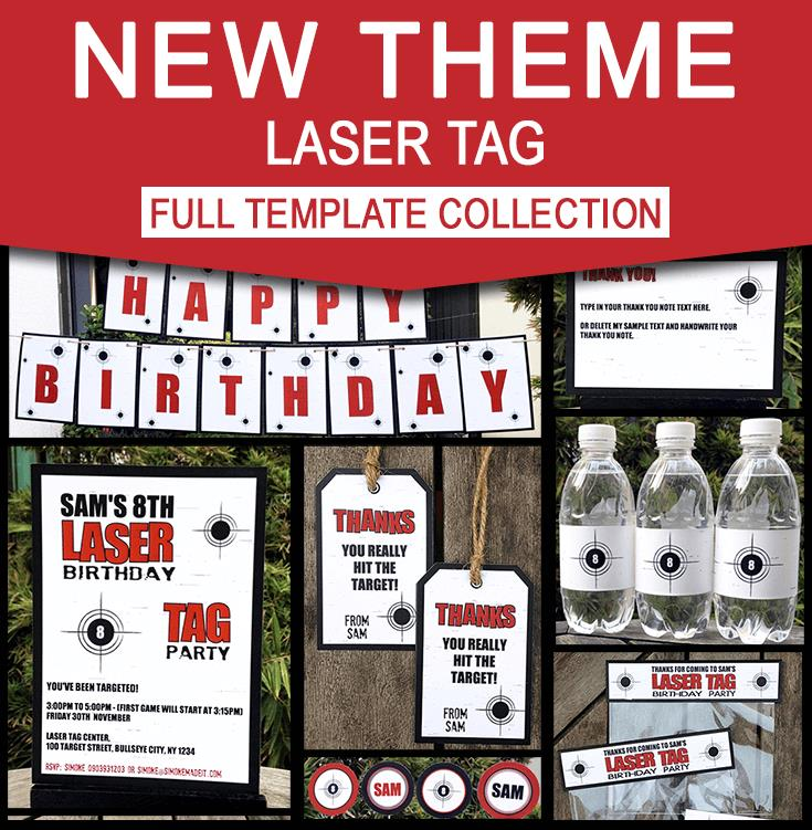 laser tag birthday party invitation template ; Laser-Tag-Birthday-Party-Printables-Editable-Templates