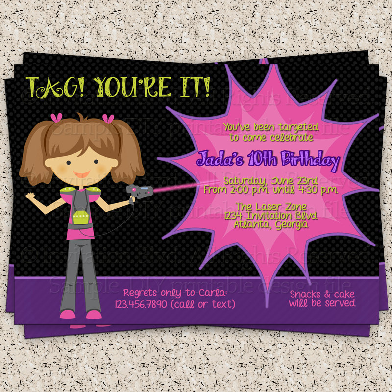 laser tag birthday party invitation template ; il_fullxfull