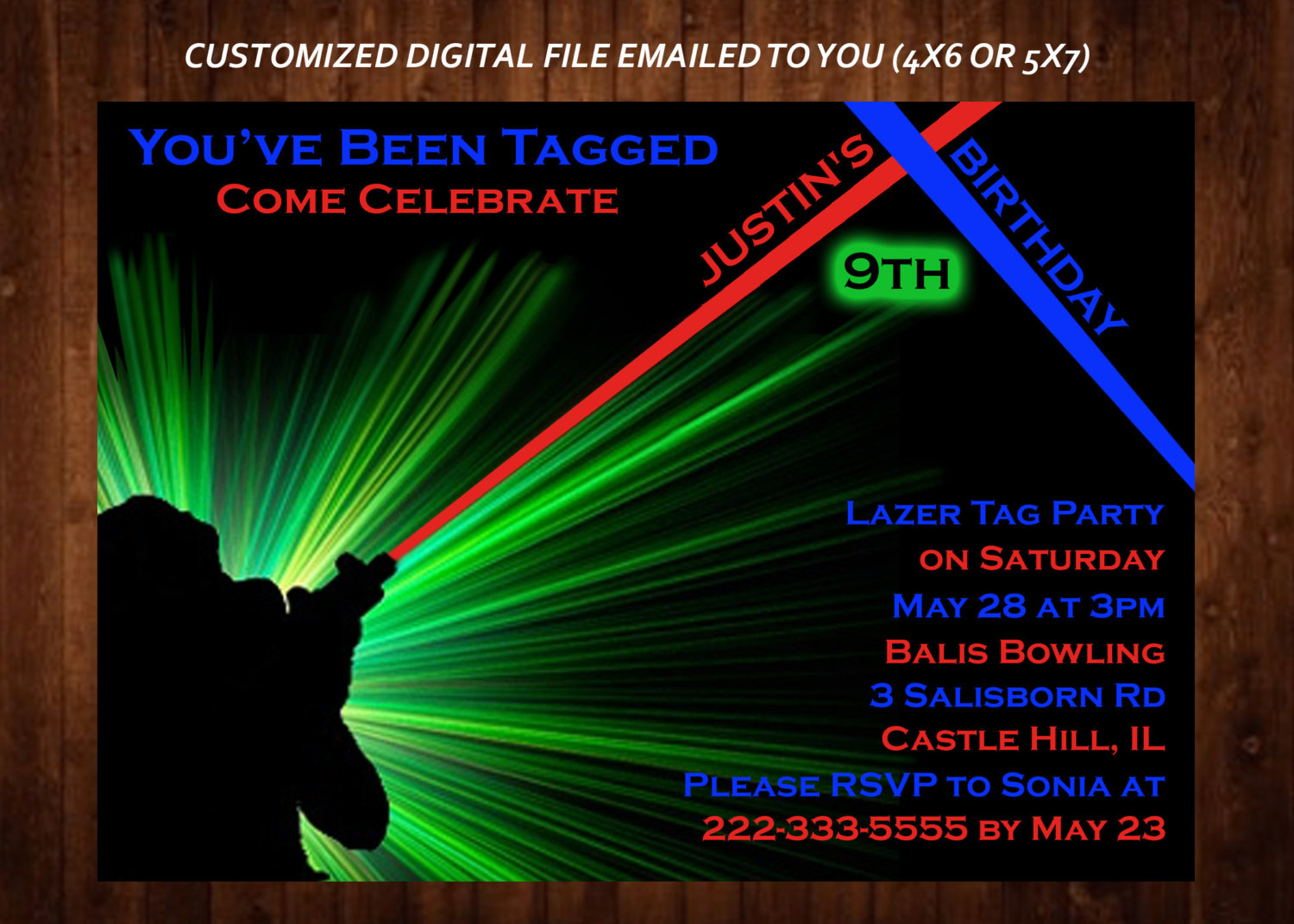 laser tag birthday party invitation template ; laser-tag-birthday-invitations-laser-tag-invitation-etsy