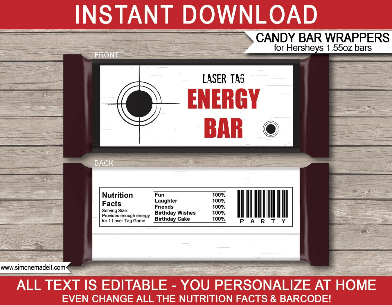 laser tag birthday party invitation template free ; Laser-Tag-Hershey-Candy-Bar-Wrapper-Template-red-black