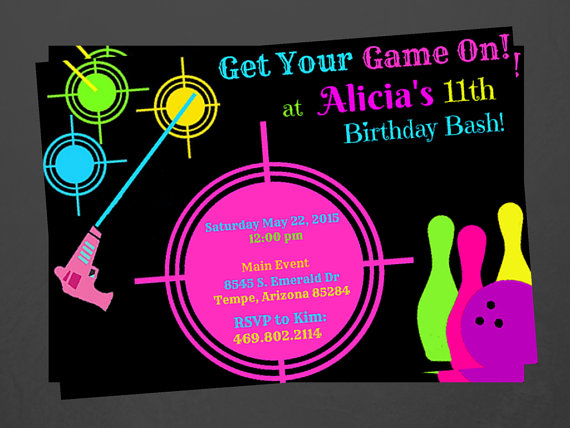 laser tag birthday party invitations ; il_570xN