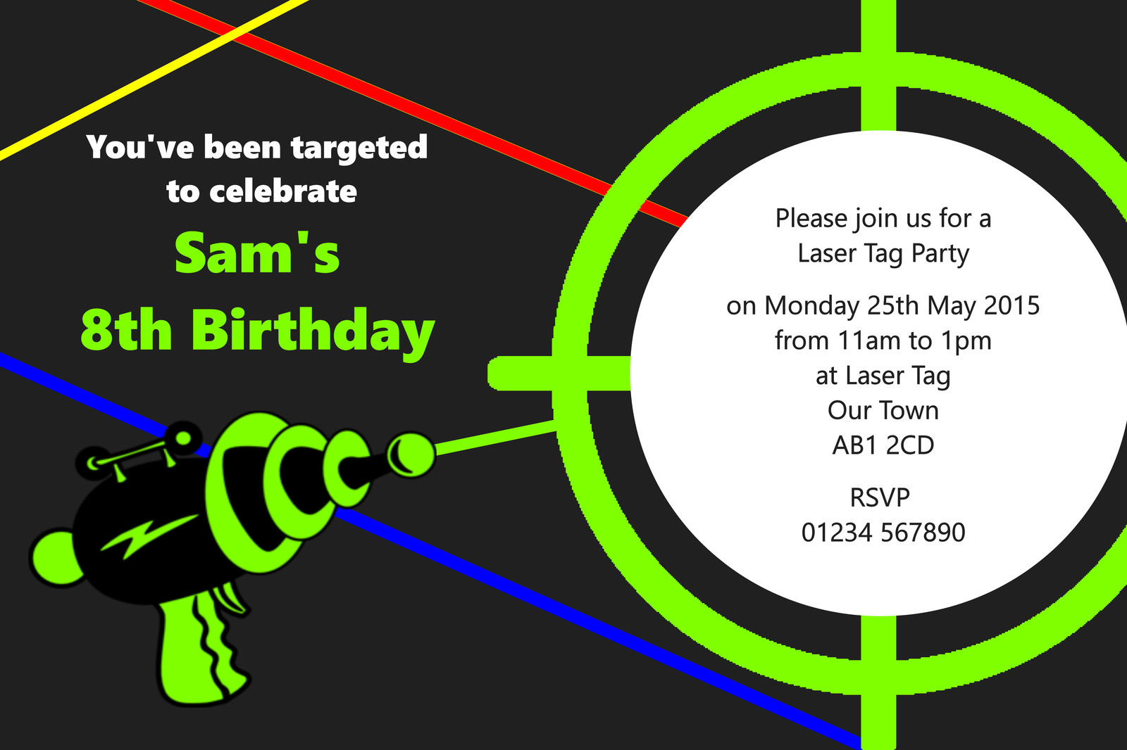 laser tag birthday party invitations ; personalised-childrens-laser-tag-birthday-party-invitations