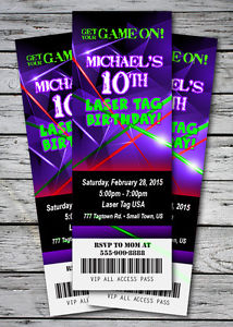 laser tag birthday party invitations ; s-l300