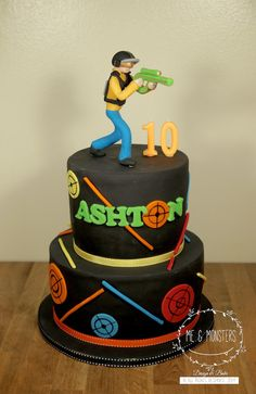 laser tag themed birthday cake ; 502bfd0d89ee6b73e84758aef200397c--laser-tag-birthday-cake-ideas-laser-tag-party